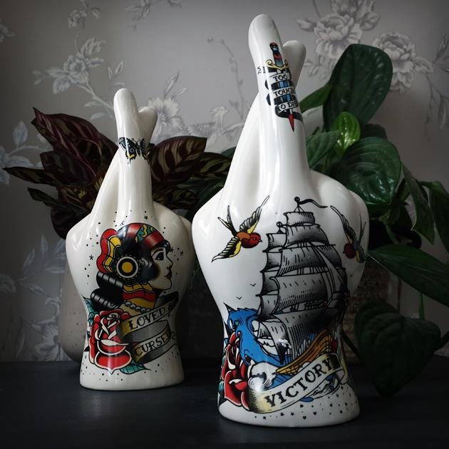 Victory Tattoo Palmistry Hand Vase - Curious Gifts