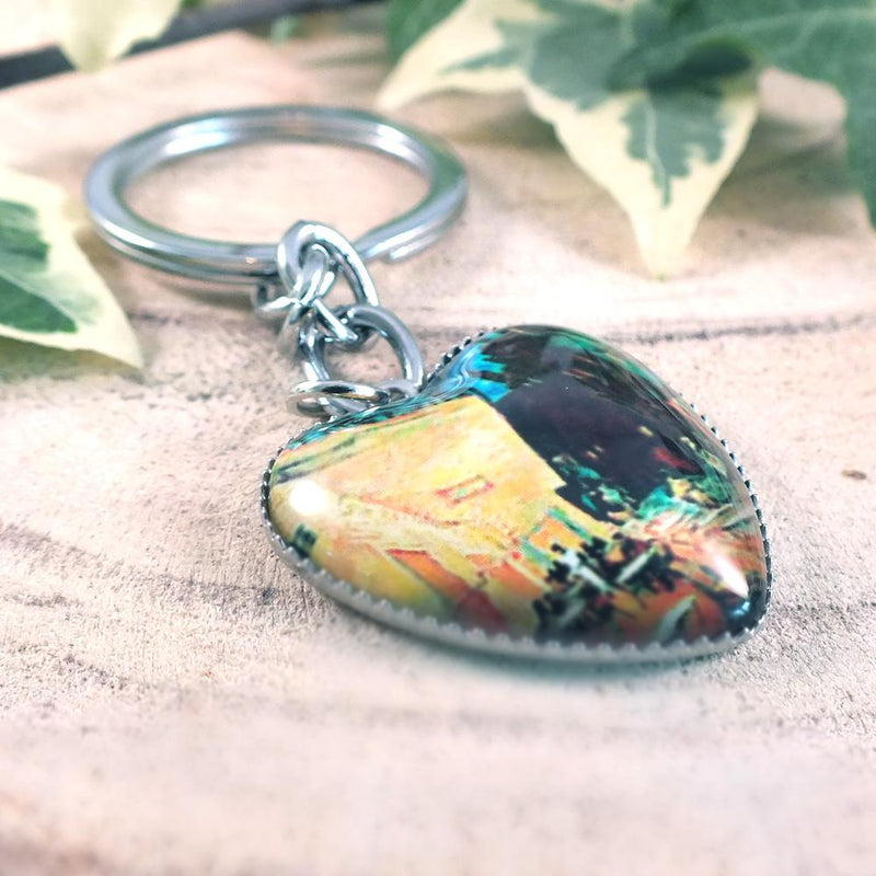 Vincent Van Gogh Café Terrace At Night Heart Keyring - Curious Gifts