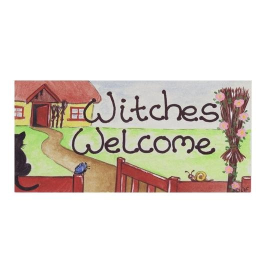 Witches Welcome PVC Hanging Sign - Gothic Gifts