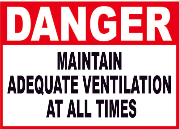 DANGER VENTILATION CONSTUCTION SIGN