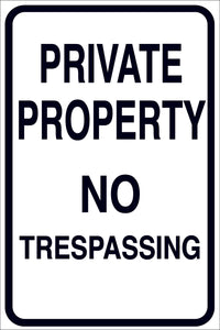 PRIVATE PROPERTY NO PARKING METAL