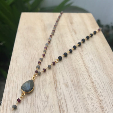 Labradorite Drop + Garnet + Lava Gem Chain Necklace - LavHā