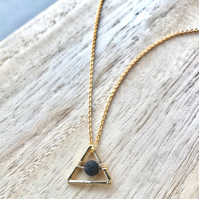 Gold Triangle Lava Necklace - LavHā