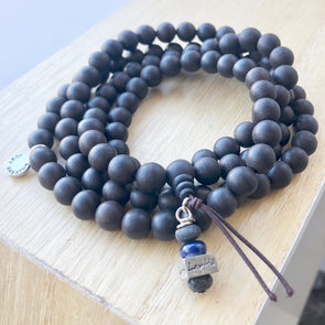 108 Beaded Aromatic Dark Sandalwood Mala w/ Lapis LavHā charm
