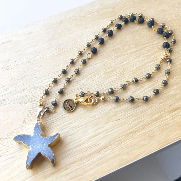 Starfish Druzy + Iron Pyrite and Lava Gem Chain Necklace