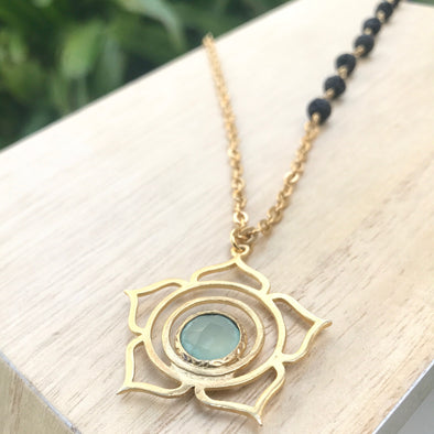 Gold Lotus + Sea Green Chalcedony + Lava Necklace - LavHā