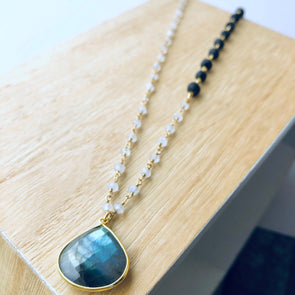 Labradorite Pendant + Moonstone Gem Chain + Lava Necklace - LavHā