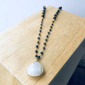 Moonstone Pendant + Obsidian Gem Chain + Lava Necklace - LavHā