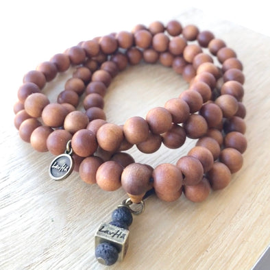 108 Beaded Aromatic Sandalwood Mala w/ LavHā charm