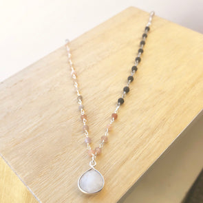 Silver Moonstone + Lava Necklace - LavHā
