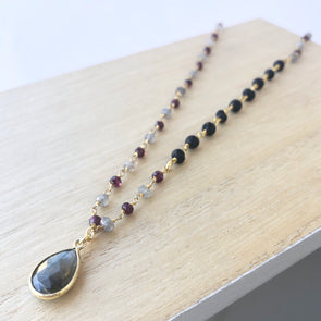 Labradorite + Garnet + Lava Gem Chain Necklace