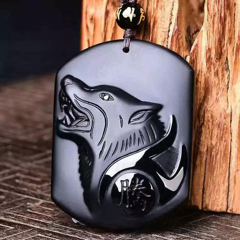 Black Obsidian Japanese Werewolf Head Necklace Amulet