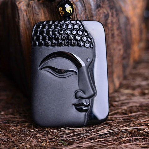 Black Obsidian Vintage Buddha Face Necklace Amulet