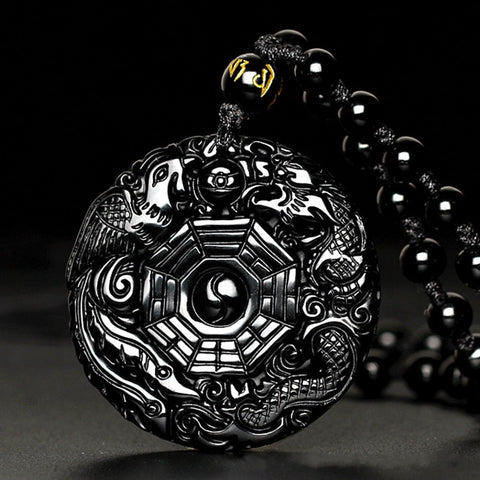 Black Obsidian Dragon Phoenix Necklace Amulet