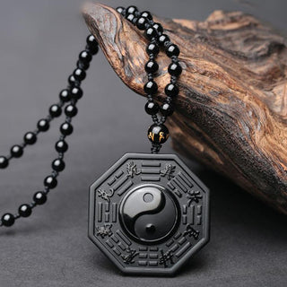 Black Obsidian Stone Yin & Yang Necklace Amulet