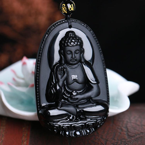 Black Obsidian Meditation Buddha Necklace Amulet
