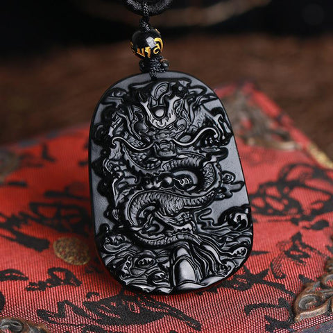 Black Obsidian Dragon Carved Necklace Amulet