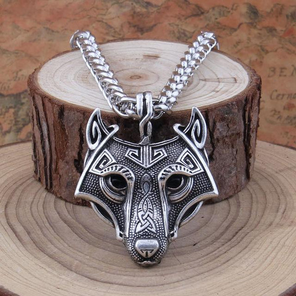 Vintage Viking Norse Wolf Head Necklace