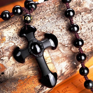 Black Obsidian Stone Knights Templar Cross Necklace Amulet