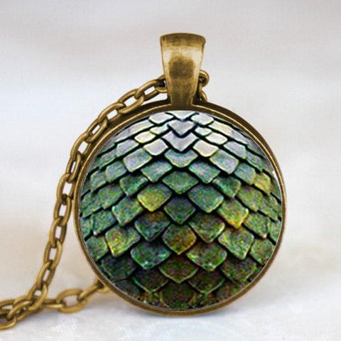 Vintage Glass Dragon Scale Necklace Amulet
