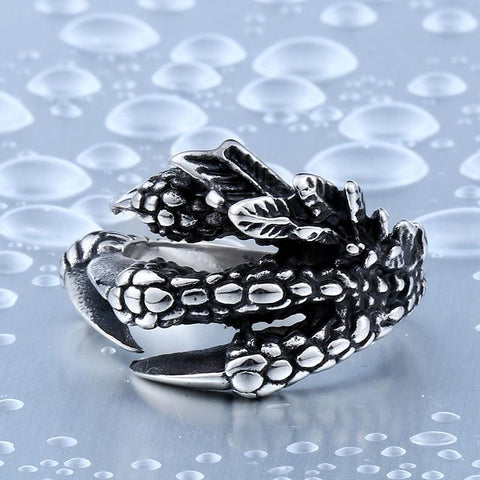 Stainless Steel Aztec Eagle Warrior Claw Ring