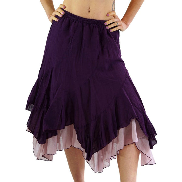 'Two Layer' Gypsy Renaissance Skirt - Purple/L:ight Purple - zootzu