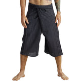 Short Thai Fisherman Pants - Striped Black - zootzu