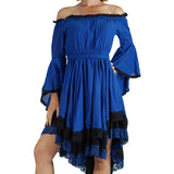 Blue/Black Lace Dress Long Sleeve - zootzu