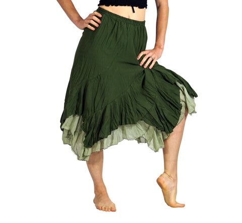 'Two Layer' Gypsy Renaissance Fairy Skirt - Green/Light Green