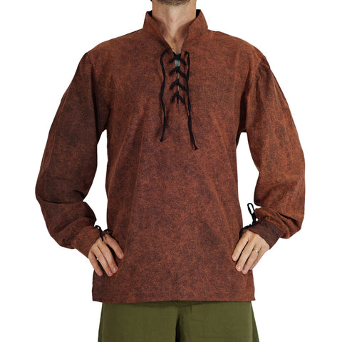 'Merchant' Renaissance Shirt with High Collar - Stone Brown
