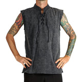 'Rogue' Medieval Sleeveless Shirt - Stone Black - zootzu