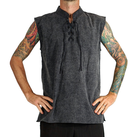 'Rogue' Medieval Sleeveless Shirt - Stone Black
