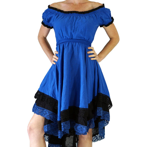 'Lace' Medieval Dress Short Sleeves - Blue