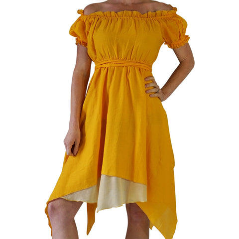 'Short Sleeve Gypsy Dress' - Yellow