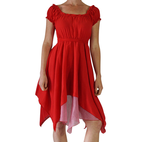 'Short Sleeve Gypsy Dress' - Red