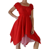 'Short Sleeve Gypsy Dress' - Red - zootzu