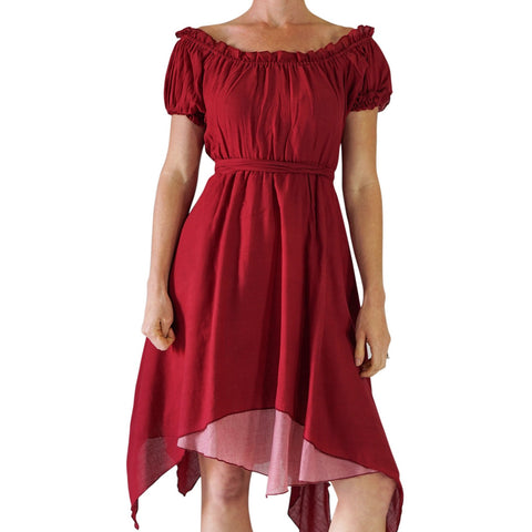 'Short Sleeve Gypsy Dress' - Burgundy