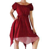 'Short Sleeve Gypsy Dress' - Burgundy - zootzu