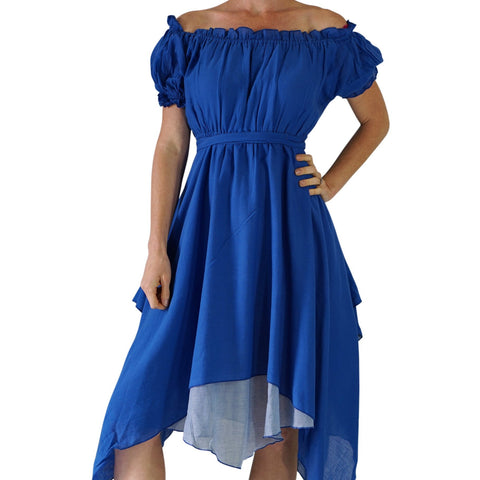 'Short Sleeve Gypsy Dress' - Blue