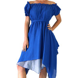 'Short Sleeve Gypsy Dress' - Blue - zootzu