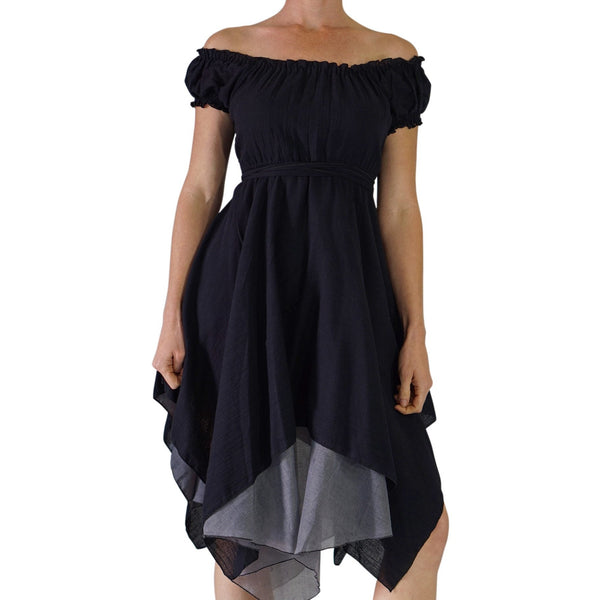 'Short Sleeve Gypsy Dress' - Black - zootzu