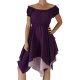 'Short Sleeve Gypsy Dress' - Dark Purple - zootzu