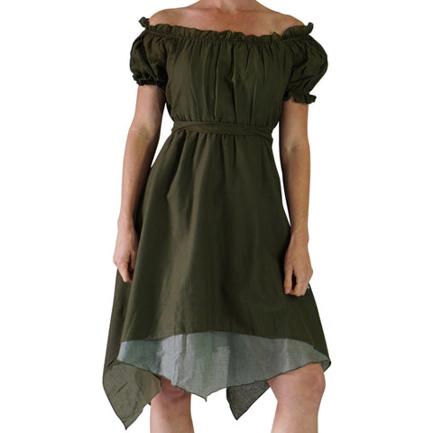 'Short Sleeve Gypsy Dress' - Fern Green