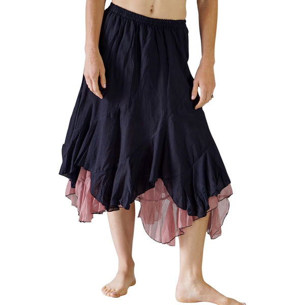 'Two Layer' Gypsy Renaissance Skirt - Black/Pink - zootzu