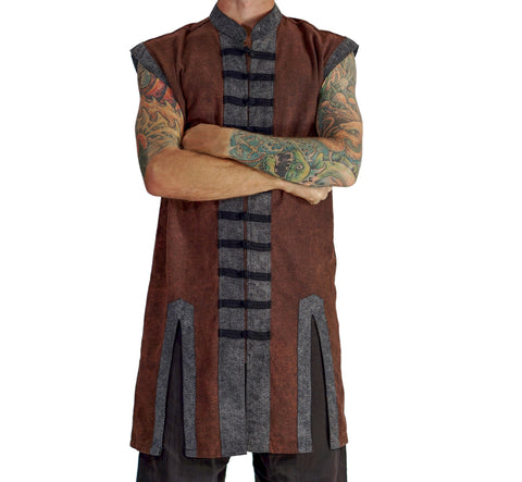 Long Pirate Vest - Stonewashed Brown/Black Buttons