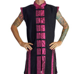 Long Pirate Vest, Silk Trim - Purple - zootzu