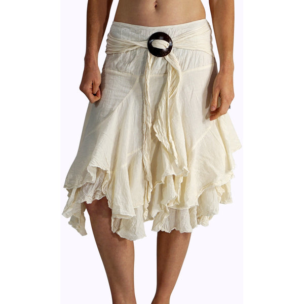 'Willow' Gypsy Pirate Skirt - Cream - zootzu