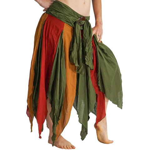 'Petal' Long Renaissance/Pirate Skirt - Green/Orange