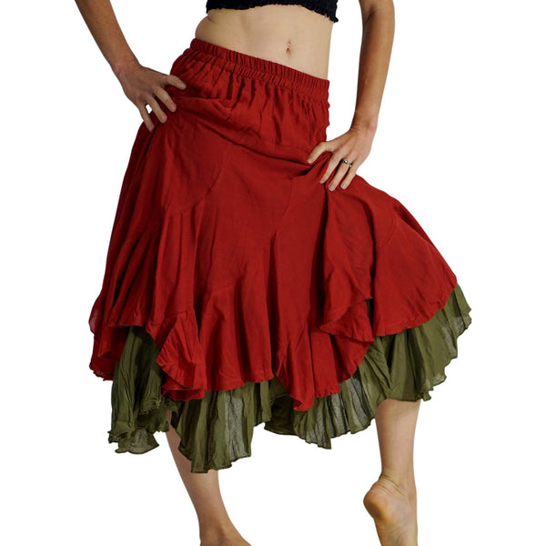 'Two Layer' Gypsy Renaissance Skirt - Orange/Green - zootzu