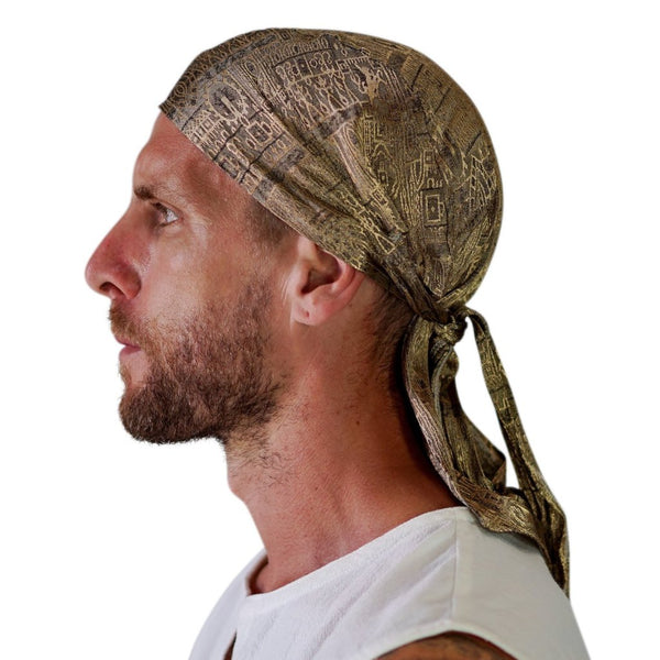 'Pirate Bandana' Medieval Hat, Silk - Gold - zootzu